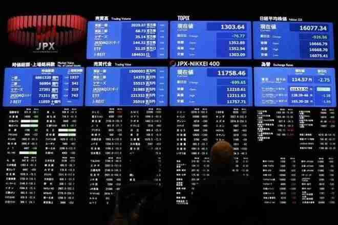 """""""随着高债券的产量,亚洲股市跌幅称重"""