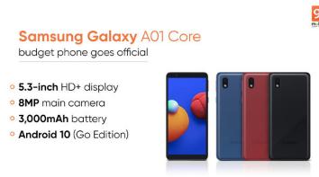 """""""三星Galaxy A01 Core在印尼悄悄亮相"""